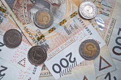 Background from 200 polish zloty. And coins Royalty Free Stock Photo