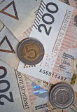 Background from 200 polish zloty. And coins Stock Image