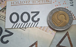 Background from 200 polish  zloty. Background from 200 polish zloty and coins Royalty Free Stock Photos