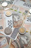 Background from 200 polish  zloty. Background from 200 polish zloty and coins Royalty Free Stock Photography