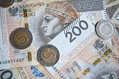 Background from 200 polish  zloty. Background from 200 polish zloty and coins Royalty Free Stock Images