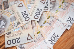 Background from 200 polish  zloty. Background from 200 polish zloty and coins Stock Photo