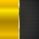 Background of polished red metal and black mesh with strip. Royalty Free Stock Images