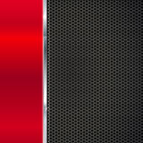 Background of polished red metal and black mesh with strip. Background of polished red metal and black metal mesh with polished metal strip. Technological Stock Image