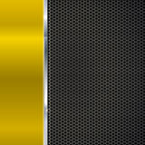 Background of polished red metal and black mesh with strip. Royalty Free Stock Photography