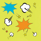 Background with pop art elements. yelow dots, clouds and speech star bubble for text. retro vector illustration for Royalty Free Stock Images