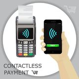 Background with POS terminal, hand and smartphone. Wireless wifi Stock Images