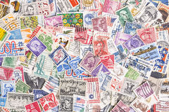Background of postage stamps from United States Royalty Free Stock Photos
