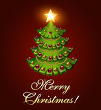 Background postcard Christmas with a tree and a burning star Royalty Free Stock Photo