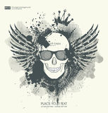 Background for poster in grunge style with skull crown. Grunge print for t-shirt Royalty Free Illustration