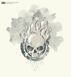 Background for poster in grunge style with skull in flame. Royalty Free Stock Photo