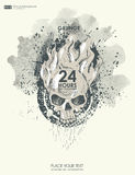 Background for poster in grunge style with skull in flame. Royalty Free Stock Photography