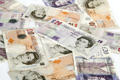 Background of pounds. Background of ten and twenty pounds Stock Images