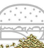Background of poured hamburgers. Preparation for design. Vector Stock Photo