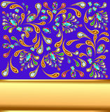 Background with precious stones and gold band. Illustration background with precious stones and gold band Royalty Free Stock Images