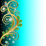 Background with precious stones and gold ornaments. Illustration background with precious stones and gold ornaments leaves Stock Image