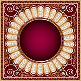 Background  with precious stones, gold pattern in. Background illustration with precious stones, gold pattern in the form of a circle Stock Photos