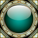 Background  with precious stones, gold pattern in. Background illustration with precious stones, gold pattern in the form of a glass circle Stock Photos