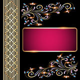 Background  with precious stones, gold pattern for. Background illustration with precious stones, gold pattern for invitation Royalty Free Stock Photos