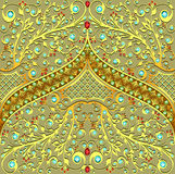 Background with precious stones. Illustration background with precious stones, gold pattern and the grid Stock Image