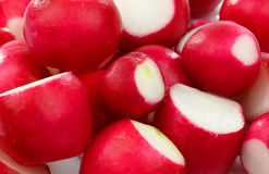 Background of prepared red radishes Royalty Free Stock Photos