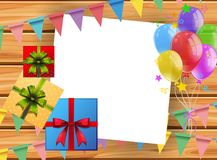 Background with present boxes and balloons Royalty Free Stock Image