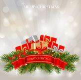 Background with presents and a ribbon. Vector Royalty Free Stock Images