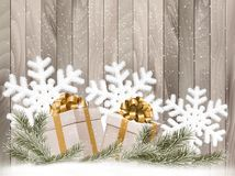 Background with presents and snowflakes. Royalty Free Stock Images