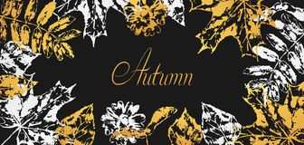 Background with printed leaves. Art illustration of autumn foliage Vector Illustration
