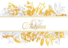 Background with printed leaves. Art illustration of autumn foliage Royalty Free Illustration