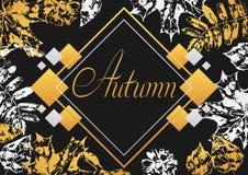 Background with printed leaves. Art illustration of autumn foliage Stock Illustration