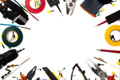 Background of professional electrician tools with space for text stock photography