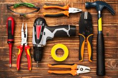 Background of professional electrician tools with space for text stock image