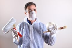 Background with professional painter with working overalls royalty free stock photos