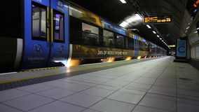 Heathrow express underground station Great Britain July 2017 London UK. Background public trasportation blue train doors closing stock video footage