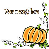 Background with Pumpkin. S  hand drawn with leaves Royalty Free Stock Images
