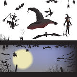 Background, pumpkin trees grave spiders,. Bats halloween set, vector illustration hanging upside down and in flight, to print labels and office decoration Royalty Free Stock Photo