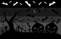 Background with pumpkins and bats in grey tones Stock Image