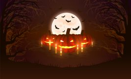 Background with pumpkins, bats, moon and scary woods. Halloween design. Stock Photo