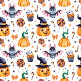 Background with pumpkins, candy,muffin,bat,skull and bow royalty free illustration