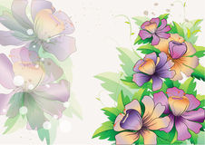 Background with purple flowers with leaves Royalty Free Stock Image