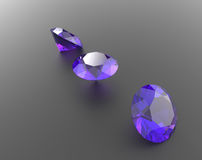 Background with purple gemstones. 3D illustration royalty free stock images