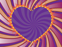 Purple rays background with heart Royalty Free Stock Images