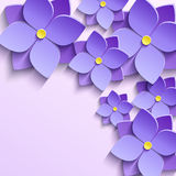Background with purple summer flowers violets. Floral trendy creative background with stylized purple summer 3d flowers violets. Beautiful stylish modern Royalty Free Stock Image