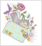 Background with purse, mobile phone, perfume,flower, jewelry Royalty Free Stock Photos