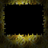 Background puzzle frame gold buttons Royalty Free Stock Photography