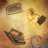 Background with radio, typewriter, alarm clock. Abstract retro background with old radio, mechanical typewriter, alarm clock and gramophone Royalty Free Stock Images