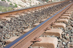 Background. Railway linen. Rails and sleepers. Royalty Free Stock Photography