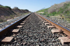 Background. Railway linen. Rails and sleepers. Stock Photography