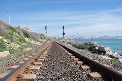 Background. Railway linen. Rails and sleepers. Stock Image